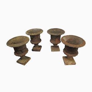 Antique Cast Iron Vases or Planters, Set of 4