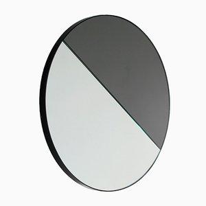 Kleiner runder Mixed Zinnt Dualis Orbis Spiegel mit schwarzem Rahmen von Alguacil & Perkoff Ltd