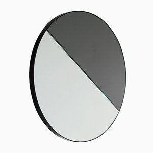 Small Mixed Tint Dualis Orbis Round Mirror with Black Frame by Alguacil & Perkoff Ltd