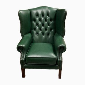 Green Leather Chesterfield Lounge Chair, 1970s