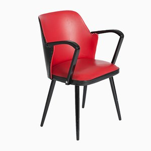 Mid-Century Italian Red Armchair, 1950s