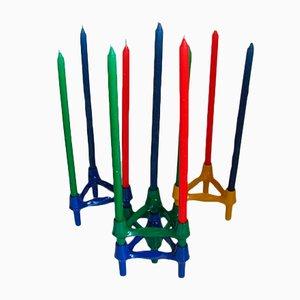 Modulare Kerzenhalter und Kerzen von Ceasar Stoffi & Fritz Nagel für BMF, 1970er, 14er Set