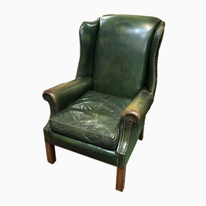 Leather Wingback Armchair, 1970s