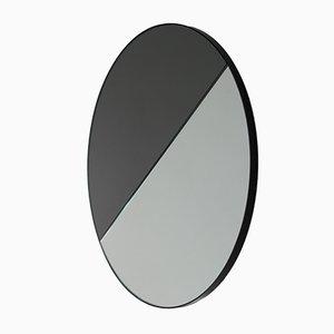 Großer runder Mixed Zinnt Dualis Orbis Spiegel mit schwarzem Rahmen von Alguacil & Perkoff Ltd, 2019