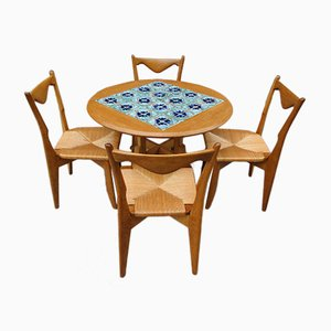 Vintage Dining Table and Chairs by Guillerme et Chambron, 1950s, Set of 5