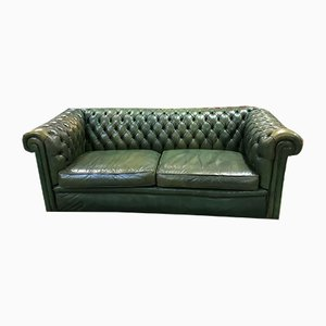 Green Leather 3-Seater Chesterfield Sofa, 1970s