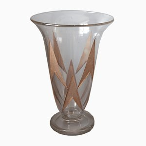 Vintage Etched and Gold Stained Glass Vase by Jean Luce, 1930s