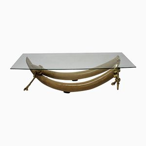 Vintage Faux Tusk Coffee Table by S. T. Valenti, 1970s