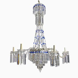 English Cut Glass Waterfall Chandelier with Blue Elements, 1870s