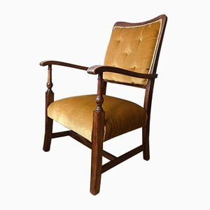 Vintage Art Deco Oak Armchair, 1920s