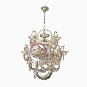 Lámpara de araña modernista de metal cromado, años 70