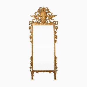 Espejo italiano antiguo de madera dorada, década de 1870
