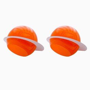 Lámparas de pared era espacial en naranja, años 70. Juego de 2