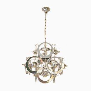 Lámpara de araña moderna de metal cromado, años 70