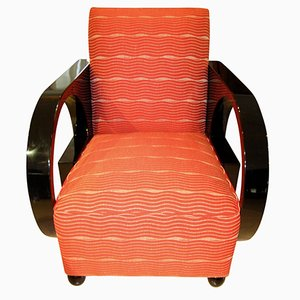 Art Deco Club Chair in Black Lacquer and Red Fabric, France, 1930s