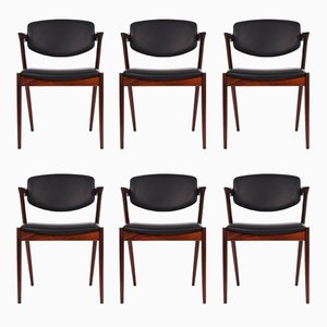 Vintage Model 43 Palisander Dining Chairs by Kai Kristiansen for Schou Andersen, Set of 6