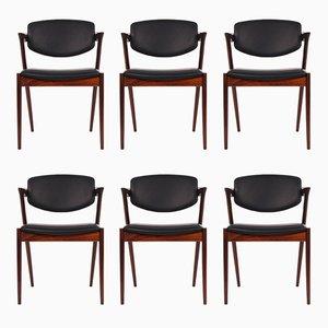 Vintage Modell 43 Esszimmerstühle aus Palisander von Kai Kristiansen für Schou Andersen, 6er Set