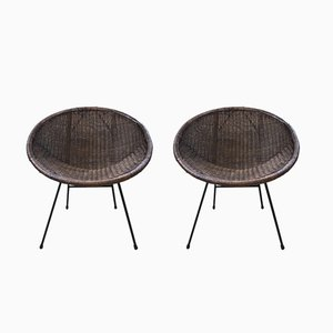 Rattan & Metal Lounge Chairs, 1960s, Set of 2