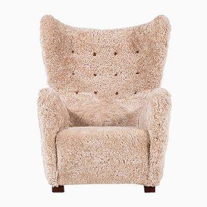 Club chair vintage in pelle di pecora di Fritz Hansen, anni '30