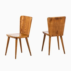 Vintage Dining Chairs by Göran Malmvall for Svensk Fur, 1940s, Set of 4