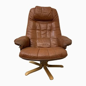 Vintage Leather Swivel Chair by Daneway