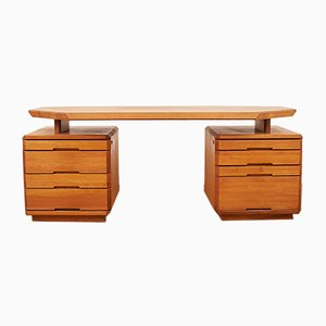 Vintage Elm Desk by Pierre Chapo for Seltz, 1980s