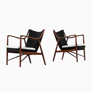 Vintage NV-45 Easy Chairs by Finn Juhl for Niels Vodder, Set of 2