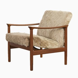 Mid-Century Modern Lounge Chairs in Brazilian Cowhide
