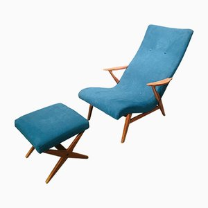 Mid-Century Danish Armchair with Footstool, 1960s