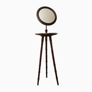 Antiker Gentleman's Rasierständer auf Dreibein mit anpassbarem Spiegel