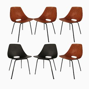 Mid-Century Leather Chairs by Pierre Guariche for Steiner, Set of 6