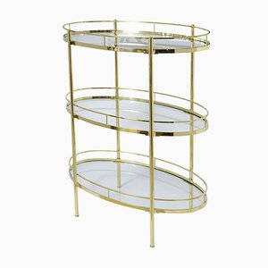 Oval Mid-Century Brass Three-Tier Etagere, 1960s