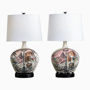 Mid-Century French Hand-Painted Ceramic Lamps, 1969, Set of 2