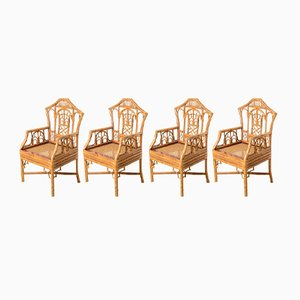Vintage Pagoda Bamboo Cane Seat Chairs, Set of 4