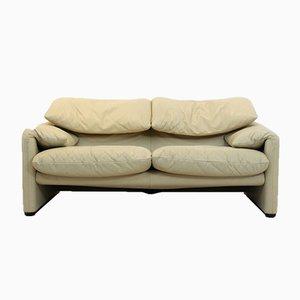 Maralunga 2-Sitzer Sofa aus Leder von Vico Magistretti für Cassina, 1980er