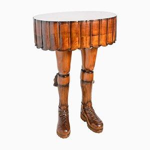 Tavolo vintage in legno e legno kilt