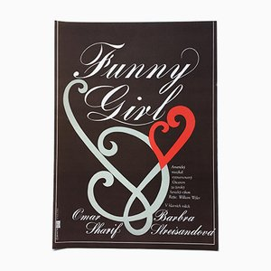 Vintage Funny Girl Movie Poster by Pavel Beneš, 1978