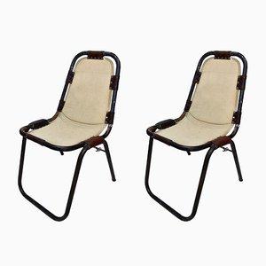 Vintage Stühle aus Leinen & Stahl von Charlotte Perriand, 2er Set