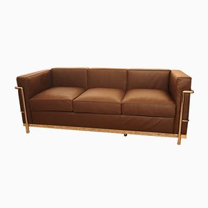 LC2 Brown Leather & Chrome Three Seater Sofa by Le Corbusier, 1990s