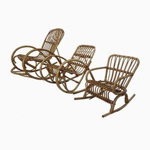 Rocking Chairs pour Enfant Mid-Century en Bambou, 1950s, Set de 3