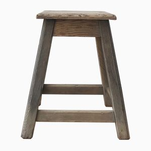 Vintage Raw Wood Workshop Stool