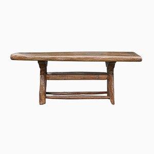 Tavolino da caffè brutalista in legno di quercia intagliato a mano