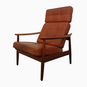 FD-164 Leather Armchair by Arne Vodder for France & Søn, 1960s