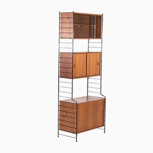 Black Steel and Wood Shelving Unit, 1960s