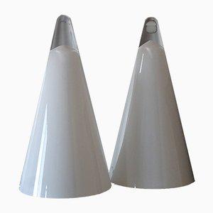 Lámparas de mesa Iceberg de vidrio opalino de SCE, años 70. Juego de 2