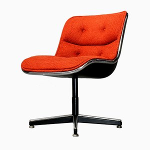 Coral Red Executive Chair by Charles Pollock for Knoll International, 1980s