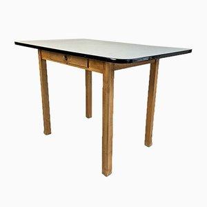 Mesa de madera y formica gris, años 60
