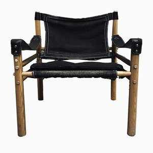 Vintage Sirocco Safari Stuhl aus schwarzem Leinen von Arne Norell, 1960er