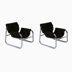 Black Leather Alpha Sling Chairs by Maurice Burke for Pozza, 1960s, Set of 2