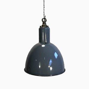 Lámpara Bauhaus industrial vintage esmaltada en azul, años 30